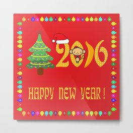 Happy new year 2016 in red Metal Print