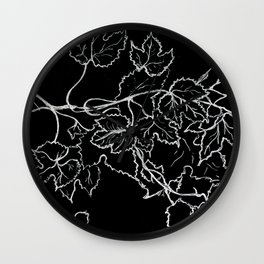 Nature drawing maple leaves Wall Clock
