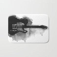 black and white electric guitar Bath Mat