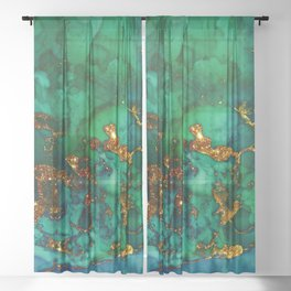 Emerald And Blue Glitter Marble Sheer Curtain