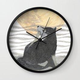 SHIBA INU, MOON, DOG Wall Clock