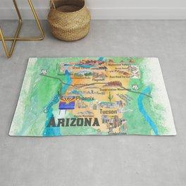 USA Arizona State Travel Poster Illustrated Art Map Rug