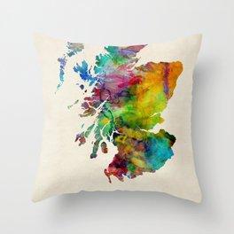 Scotland Watercolor Map Throw Pillow