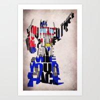 optimus prime Art Prints featuring Optimus Prime by Ayse Deniz