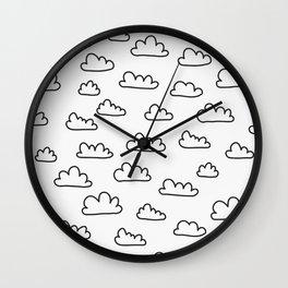 Scandinavian Clouds Black Wall Clock