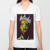 tupac V-neck T-shirts featuring Tupac's Back by Dazed N Amused