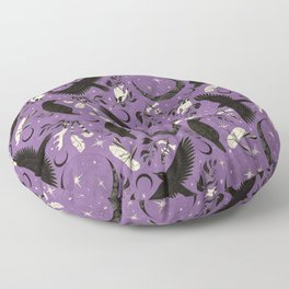 Raven Tarot Purple  Floor Pillow