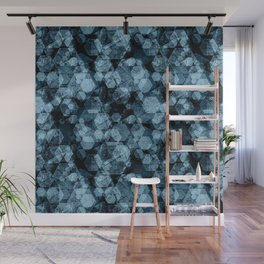Blue hexagons. Kaleidoscope Wall Mural