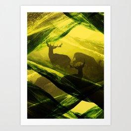 Oh Deer Complex Green Art Print