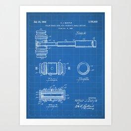 Judge Gavel Patent - Lawyer Art - Blueprint Art Print