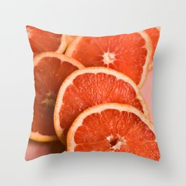 Grapefruit on Pink Throw Pillow