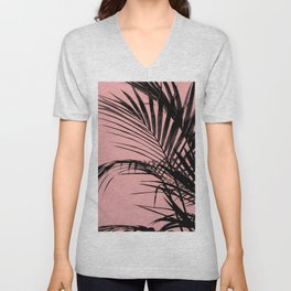 Palm leaves paradise with peach Unisex V-Neck