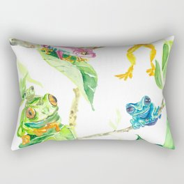 Happy tree frogs Rectangular Pillow