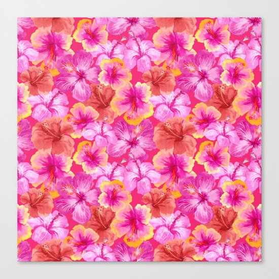 Tropical hibiscus flowers flower floral pattern on pink Canvas Print