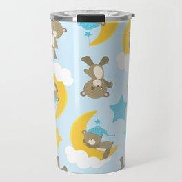 Pattern Of Cute Bears, Brown Bears, Blue Stars Travel Mug