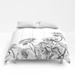 black and white peonies 2 Comforters