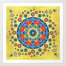 Fiesta Flower Birds Mandala Art Print