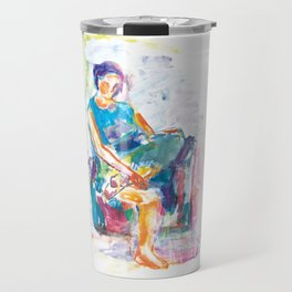 Woman in an armchair 6 watercolor Travel Mug