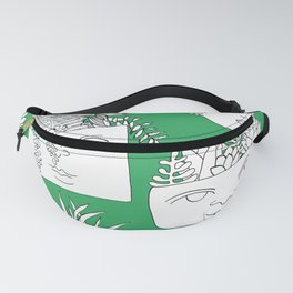 Illustrated Plant Faces in Kelly Green Fanny Pack
