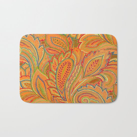 peach paisley Bath Mat