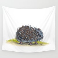 hedgehog Wall Tapestries featuring Hedgehog by Little White Bunnies