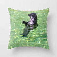 seal Throw Pillows featuring seal by  Agostino Lo Coco