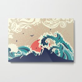 Abstract big waves of ocean and island at sunset landscape Metal Print