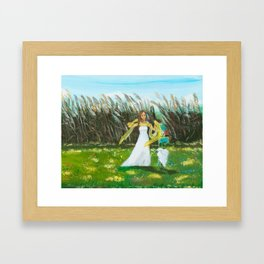 Beautiful Girl with Egret Framed Art Print