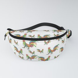 Punky Rooster on White background Fanny Pack