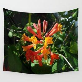 Orange Flowers of Woodbine HoneySuckle Wall Tapestry