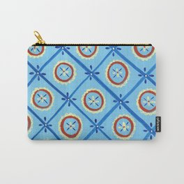 Circle in a Square, Blue and Red Carry-All Pouch