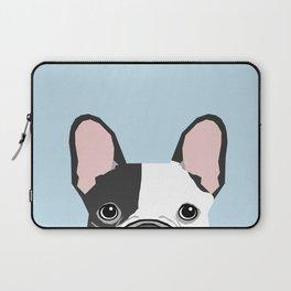french bulldog art portrait - aqua light blue cute dog design Laptop Sleeve