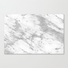 Marble - Silver and White Marble Pattern Canvas Print
