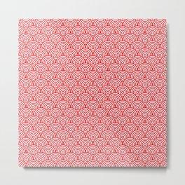 Red Concentric Circle Pattern Metal Print