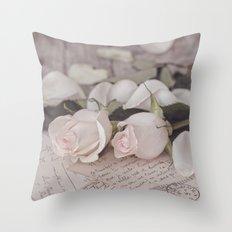 Pink Rose nostalgic Still Life Throw Pillow