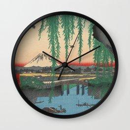 Mount Fuji from Yatsumi Bridge Ukiyo-e Japanese Art Wall Clock