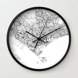 Singapore White Map Wall Clock