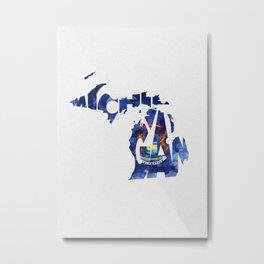 Michigan Typographic Flag Map Art Metal Print