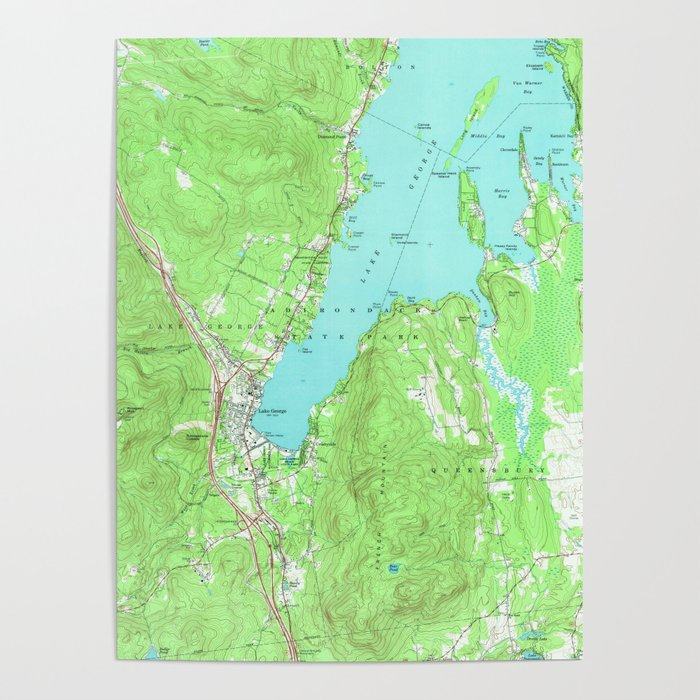 Vintage Map of Lake George New York (1966) Poster by bravuramedia ...