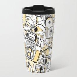 Camera Heart - on yellow Travel Mug