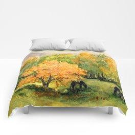 Autumn Landscape Horses Under Maples Comforters