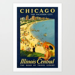 Chicago Vacation City, 1920s Travel Poster Art Print