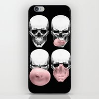 bubblegum iPhone & iPod Skins featuring Skulls chewing bubblegum by Piotr Burdan