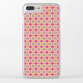 Pink Mediterranean tiles pattern Clear iPhone Case