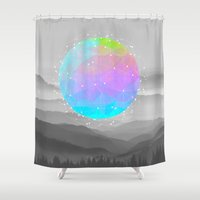 sagan Shower Curtains featuring Worlds That Never Were (Geodesic Moon) by soaring anchor designs