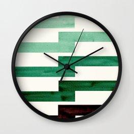 Teal Aquamarine Green Watercolor Gouache Geometric Pattern Zig Zag Lightning Bolt Shaped Mid Century Wall Clock