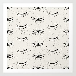 Vintage eyes hand drawn illustration pattern Art Print