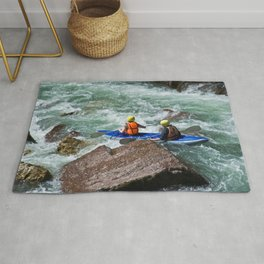 descent on a mountain river kayaking Rug