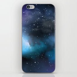 Navy Blue & Purple Glitter Cosmo Watercolor Galaxy Painting iPhone Skin