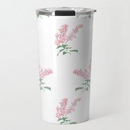 Pink Lilacs Springtime Pattern Illustration Travel Mug